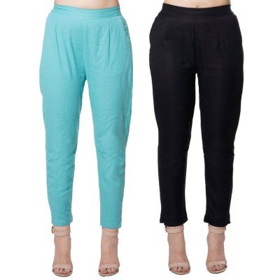 COMBO PACK CYAN BLACK COTTON FLEX CASUAL PANTS JAIPUR
