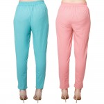 COMBO PACK CYAN MAGENTAPINK COTTON FLEX CASUAL PANTS JAIPUR