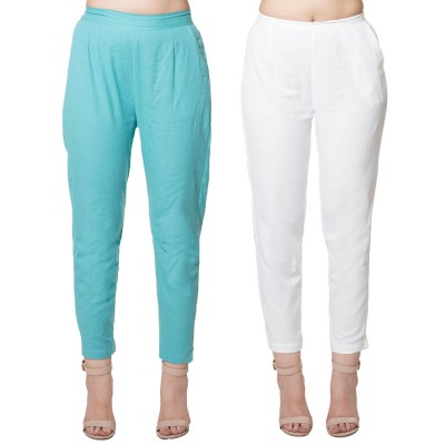 COMBO PACK CYAN WHITE COTTON FLEX CASUAL PANTS JAIPUR