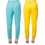 COMBO PACK CYAN YELLOW COTTON FLEX CASUAL PANTS JAIPUR