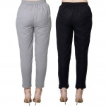 COMBO PACK GREY BLACK COTTON FLEX CASUAL PANTS JAIPUR
