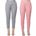 COMBO PACK GREY MAGENTAPINK COTTON FLEX CASUAL PANTS JAIPUR