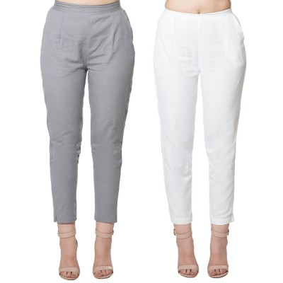 COMBO PACK GREY WHITE COTTON FLEX CASUAL PANTS JAIPUR