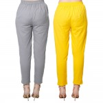 COMBO PACK GREY YELLOW COTTON FLEX CASUAL PANTS JAIPUR