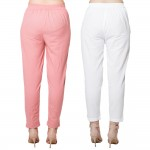 COMBO PACK MAGENTA PINK WHITE COTTON FLEX CASUAL PANTS JAIPUR