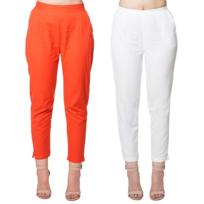 COMBO PACK RED WHITE COTTON FLEX CASUAL PANTS JAIPUR