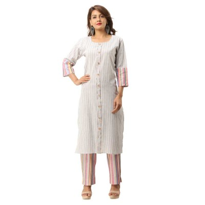 GREY COTTON FRONT BUTTON DESIGN KURTA STRIPED PANT SET JAIPUR
