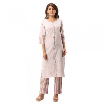 PINK COTTON FRONT BUTTON  KURTA STRIPED PANT SET JAIPUR