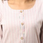 ASMANII PINK COTTON KURTA STRIPED PANT SET JAIPUR
