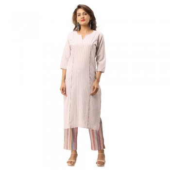 ASMANII PINK COTTON PLAIN DESIGN KURTA STRIPED PANT SET JAIPUR
