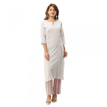 GREY COTTON PLAIN KURTA STRIPED PANT SET JAIPUR