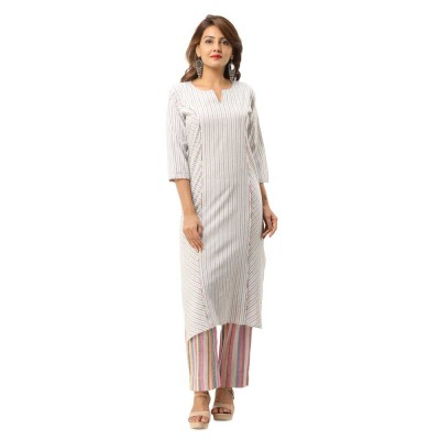 ASMANII GREY COTTON PLAIN KURTA STRIPED PANT SET JAIPUR
