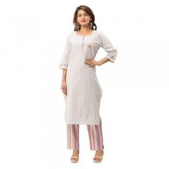 ASMANII GREY COTTON BUTTON KURTA STRIPED PANT SET JAIPUR
