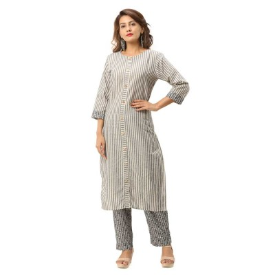 ASMANII DARK GREY COTTON KURTA STRIPED PANT SET JAIPUR