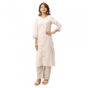LIGHT YELLOW COTTON FRONT BUTTON DESIGN KURTA STRIPED PANT SET JAIPUR