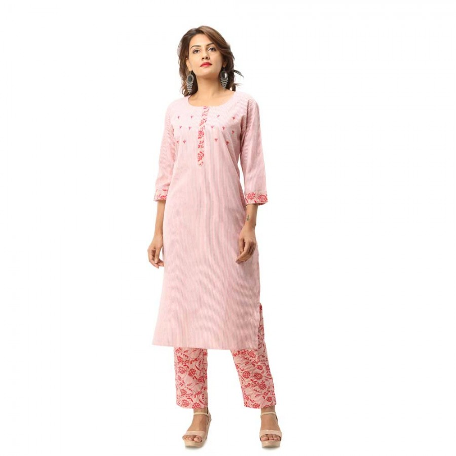ASMANII DARK PINK COTTON KURTA FRONT DESIGN  STRIPED PANT SET JAIPUR