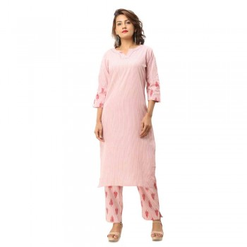 ASMANII DARK PINK COTTON KURTA STRIPED PANT SET JAIPUR