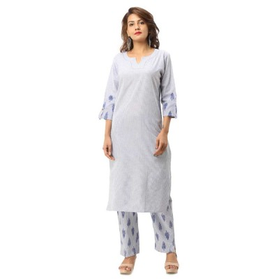 ASMANII BLUE COTTON KURTA STRIPED PANT SET JAIPUR