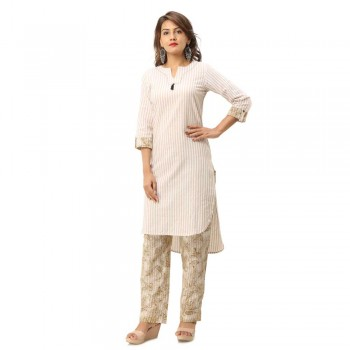 ASMANII LIGHT YELLOW COTTON KURTA STRIPED PANT SET JAIPUR