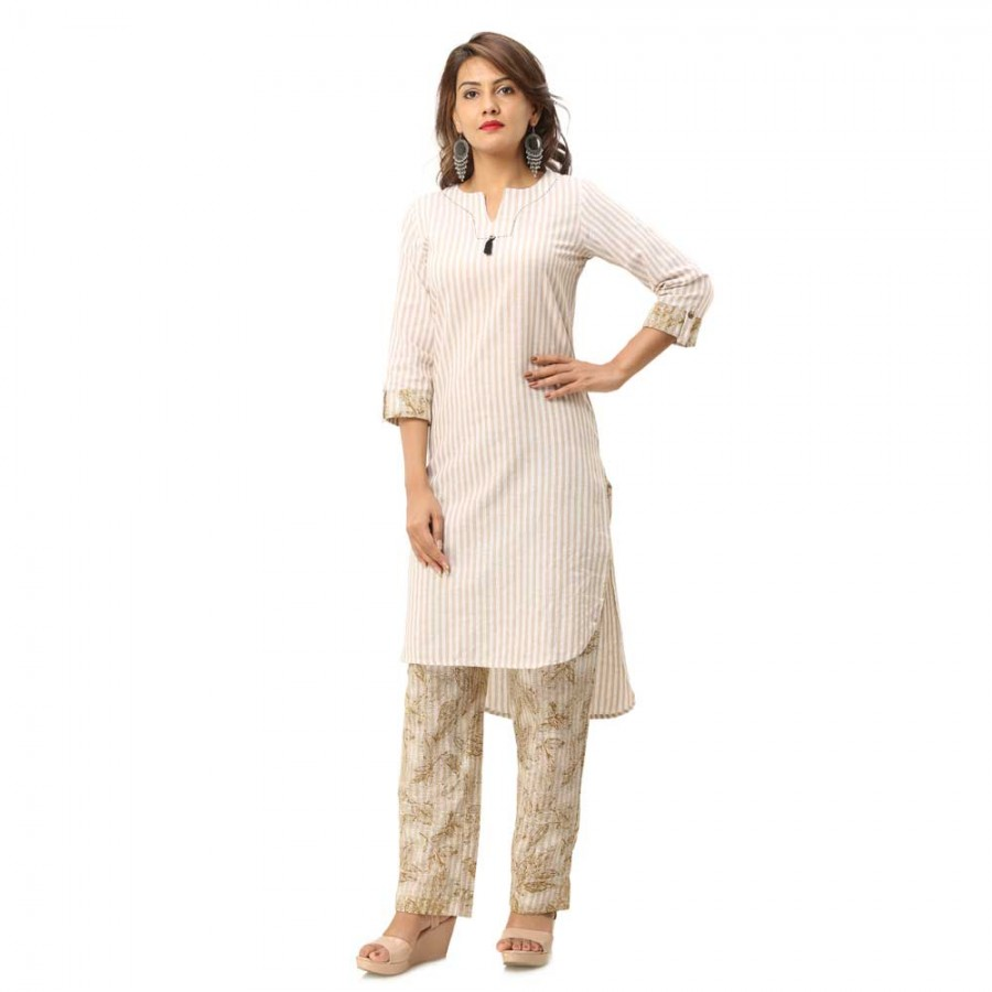ASMANII LIGHT YELLOW STRIPED COTTON KURTA FLOWER PRINTED  PANT SET JAIPUR