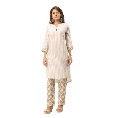ASMANII LIGHT YELLOW FRONT DESIGN COTTON KURTA STRIPED PANT SET JAIPUR