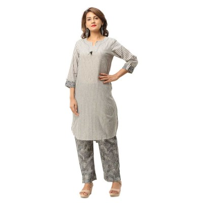 ASMANII DARK GREY STRIPPED COTTON KURTA PANT SET JAIPUR