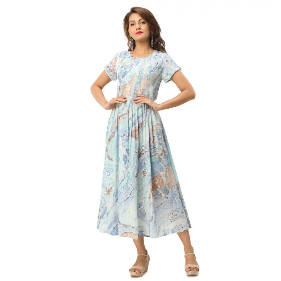 ASMANII LIGHT BLUE MARBLE PRINTED CASUAL DRESS FOR WOMEN JAIPUR