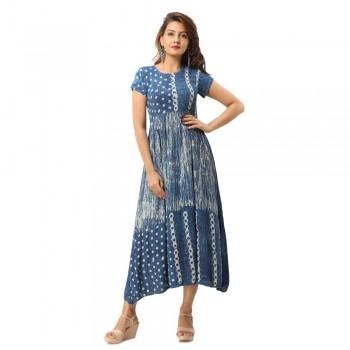 ASMANII BLUE MARBLE PRINTED CASUAL  DRESS JAIPUR