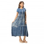 BLUE MARBLE PRINTED CASUAL  DRESS