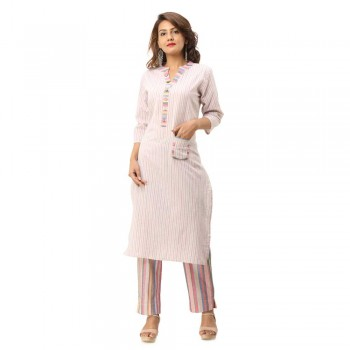 ASMANII LIGHT PINK COTTON KURTA WITH POCKET STRIPED PANT SET JAIPUR