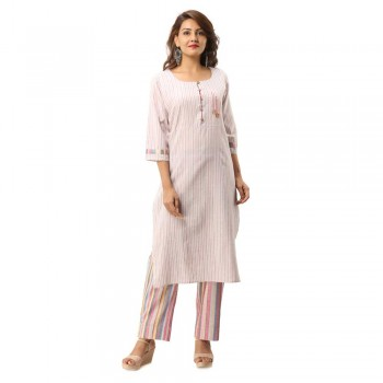 ASMANII PINK COTTON BUTTON KURTA STRIPED PANT SET JAIPUR