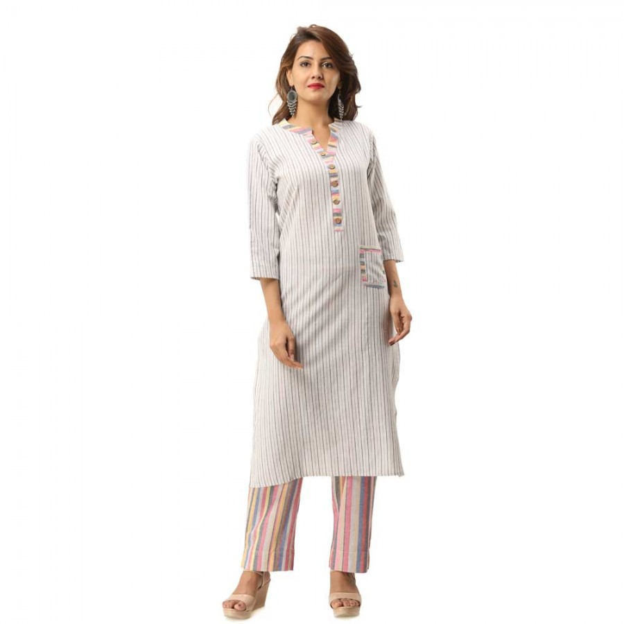 ASMANII GREY COTTON KURTA WITH POCKET STRIPED PANT SET JAIPUR