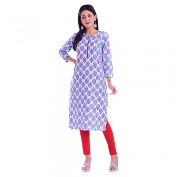 ASMANII BLUE PIPING & HANDWORK COTTON KURTI JAIPUR