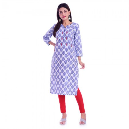 BLUE PIPING & HANDWORK COTTON KURTI JAIPUR