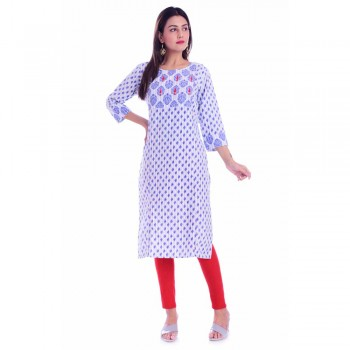 ASMANII LIGHT BLUE HANDWORK ROUND NECK COTTON KURTI JAIPUR