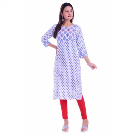 LIGHT BLUE HANDWORK ROUND NECK COTTON KURTI JAIPUR