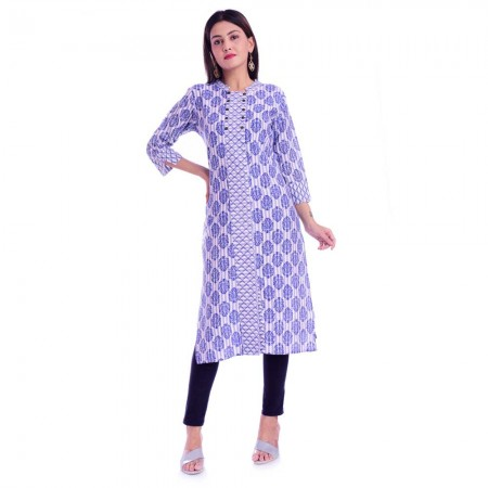 BLUE JALL PATTI  COTTON KURTI JAIPUR