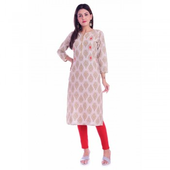 ASMANII BROWN PIPING & HANDWORK COTTON KURTI JAIPUR