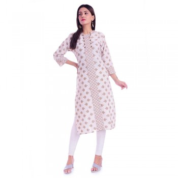 ASMANII LIGHT BROWN JALL PATTI COTTON KURTI JAIPUR