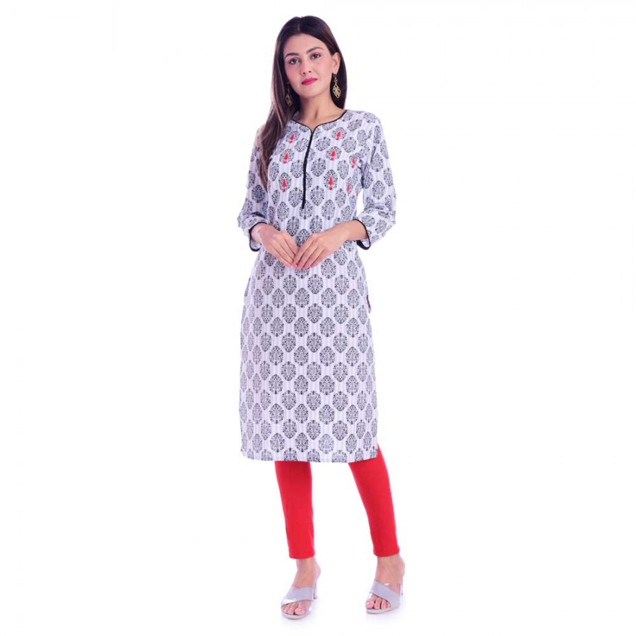 ASMANII BLACK PIPING & HANDWORK COTTON KURTI JAIPUR