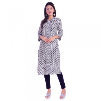 ASMANII GREY JALL PATTI COTTON KURTI JAIPUR