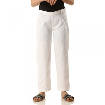 ASMANII WOMEN WHITE COTTON CASUAL PANT JAIPUR