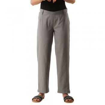 GREY COTTON CASUAL PANTS