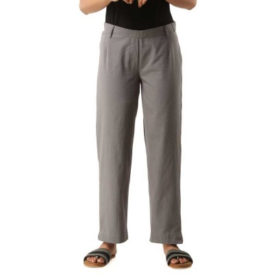 ASMANII GREY COTTON CASUAL PANTS JAIPUR