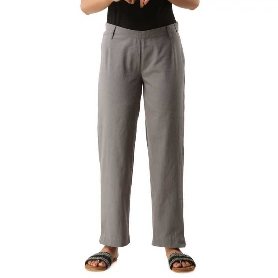 ASMANII GREY COTTON CASUAL PANTS FOR WOMEN JAIPUR