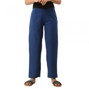 ASMANII DARK BLUE COTTON CASUAL PANT JAIPUR