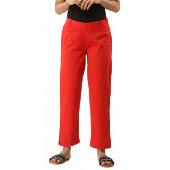 ASMANII RED COTTON CASUAL PANTS JAIPUR