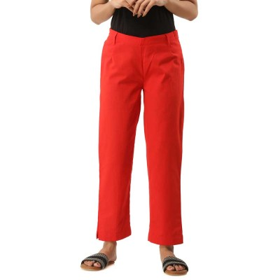 RED COTTON CASUAL PANTS