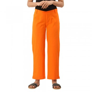 ASMANII WOMEN ORANGE COTTON CASUAL PANTS JAIPUR