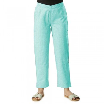 ASMANII SKY BLUE COTTON STRAIGHT PANTS  JAIPUR